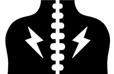 Silhouette of a person's back with lightning bolts coming out of the spine to signify pain
