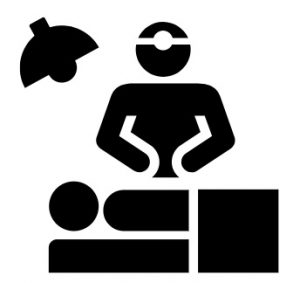 A silhouette of surgeon performing surgery on a person.