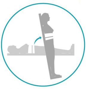 Illustration showing a person lying on a tilt table and secured with a band around the waist. There is an arrow showing that the tilt table is moving to an upright position.